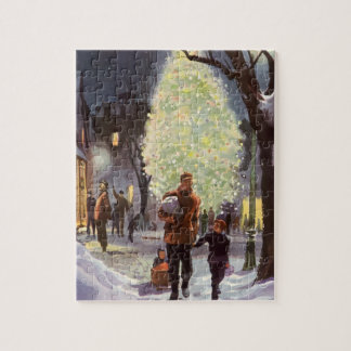Vintage Christmas, Father Shopping with the Kids Jigsaw Puzzle