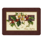 Vintage Christmas Floral 13 Cm X 18 Cm Invitation Card