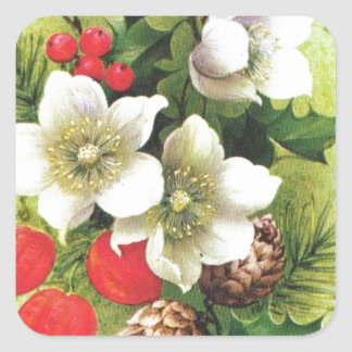 Vintage Christmas, Flowers and berries Square Sticker