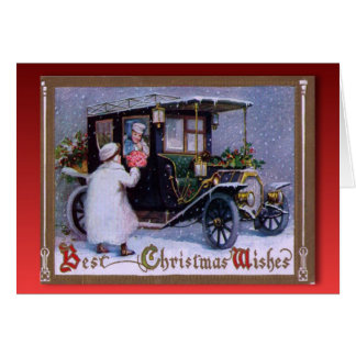 Vintage Christmas,  Flowers for a girl in a car Greeting Card