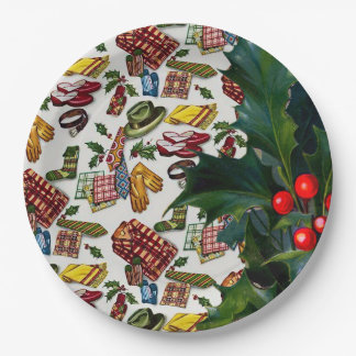 Vintage Christmas For Him 9 Inch Paper Plate