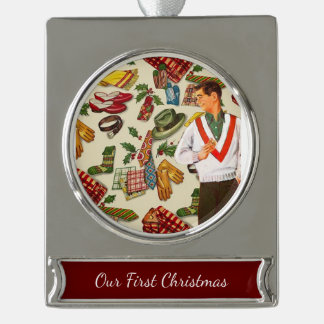 Vintage Christmas For Him Silver Plated Banner Ornament