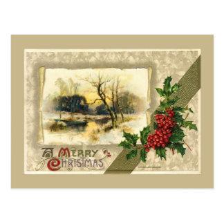 Vintage Christmas, Framed winter scene Postcard