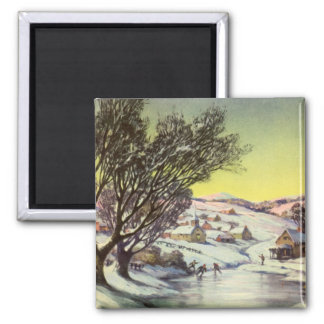 Vintage Christmas,  Frozen Lake with Ice Skaters Magnet