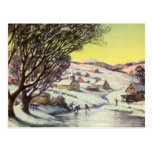 Vintage Christmas Frozen Lake with Ice Skaters Post Cards