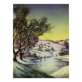Vintage Christmas,  Frozen Lake with Ice Skaters Poster