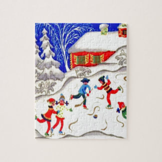 Vintage Christmas fun, Skating on the pond Jigsaw Puzzle