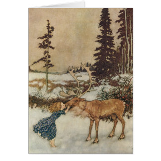 Vintage Christmas, Gerda and the Reindeer by Dulac Greeting Card