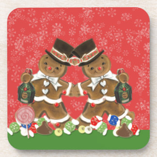 Vintage Christmas Gingerbread Men Hats & Bottlle Drink Coasters