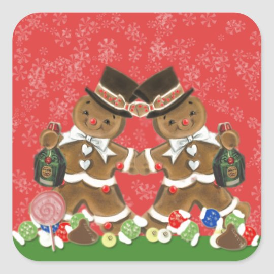 Vintage Christmas Gingerbread Men Hats & Bottlle Square