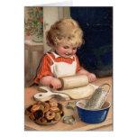 Vintage Christmas - Girl Baking Cookies Cards