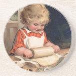 Vintage Christmas - Girl Baking Cookies Beverage Coaster
