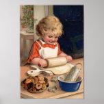 Vintage Christmas - Girl Baking Cookies Poster