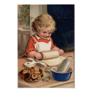 Vintage Christmas - Girl Baking Cookies Poster