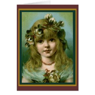 Vintage Christmas Girl Card