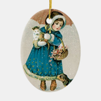 Vintage Christmas Girl Cat & Dog Christmas Ornament