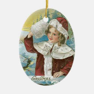 Vintage Christmas Girl in Santa Suit Ceramic Oval Decoration