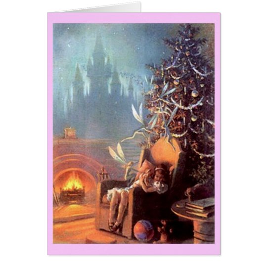 Vintage Christmas girl with faeries Card