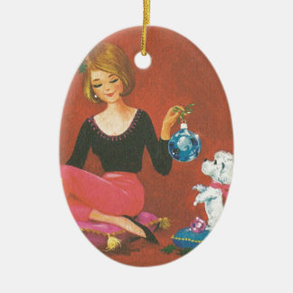 Vintage Christmas Girl With French Poodle Christmas Ornament
