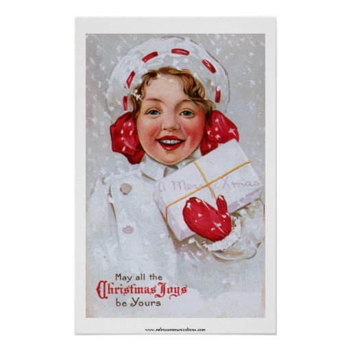 Vintage Christmas Girl with Package Print
