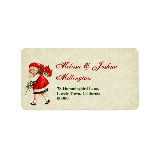 Vintage Christmas Girl with Poinsettia Bouquet Address Label