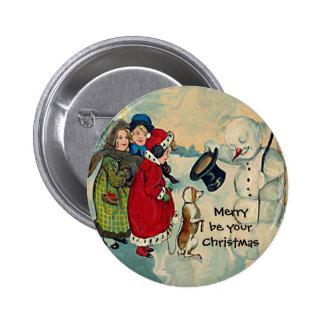 vintage christmas girls 6 cm round badge