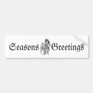 Vintage Christmas Girls. Antique Christmas Holiday Bumper Stickers