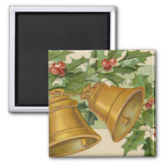 Vintage Christmas Gold Bells & Frozen Holly. Square Magnet