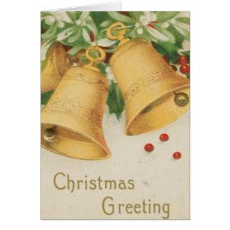 Vintage Christmas Gold Bells & Holly Berries Greeting Card