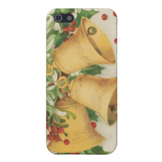 Vintage Christmas Gold Bells & Holly Berries Cover For iPhone 5