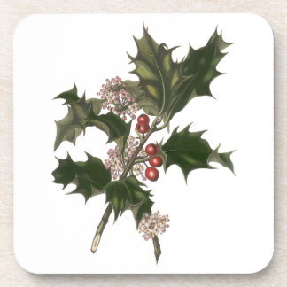 Vintage Christmas, Green Holly Plant with Berries Coaster
