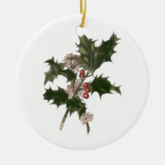 Vintage Christmas, Green Holly Plant with Berries Round Ceramic Decoration