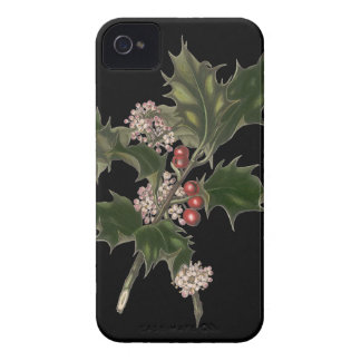Vintage Christmas, Green Holly Plant with Berries iPhone 4 Case