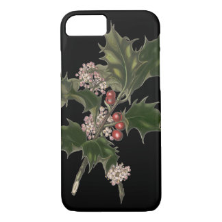 Vintage Christmas, Green Holly Plant with Berries iPhone 8/7 Case