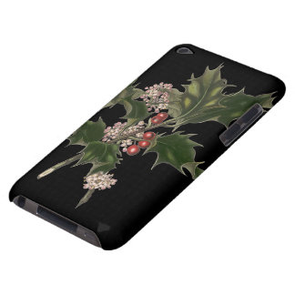 Vintage Christmas, Green Holly Plant with Berries iPod Case-Mate Case