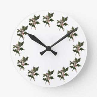 Vintage Christmas, Green Holly Plant with Berries Round Clock