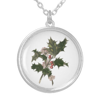 Vintage Christmas, Green Holly Plant with Berries Silver Plated Necklace