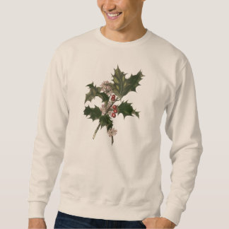 Vintage Christmas, Green Holly Plant with Berries Sweatshirt
