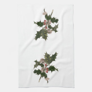 Vintage Christmas, Green Holly Plant with Berries Tea Towel