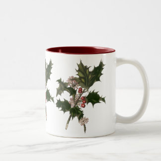 Vintage Christmas, Green Holly Plant with Berries Two-Tone Coffee Mug