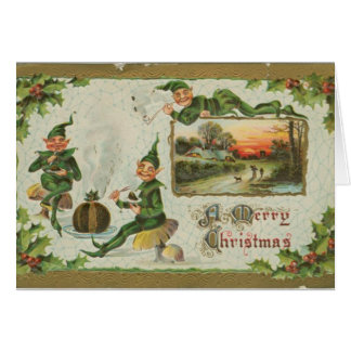 VIntage christmas greeting card with elves