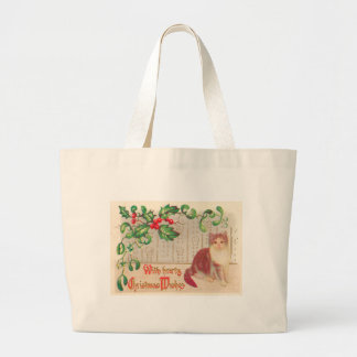 Vintage Christmas - Greeting With Cute Kitten Canvas Bags