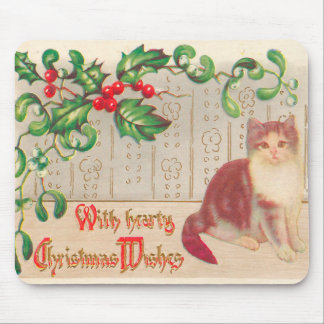Vintage Christmas - Greeting With Cute Kitten Mouse Pads