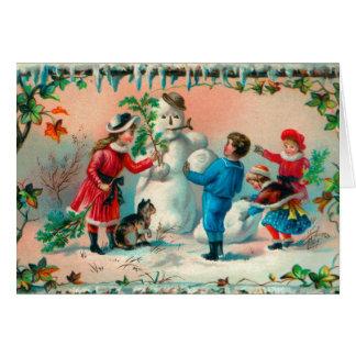 Vintage Christmas Greetings Build a Snowman Greeting Card
