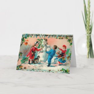Vintage Christmas Greetings Build a Snowman Holiday Card