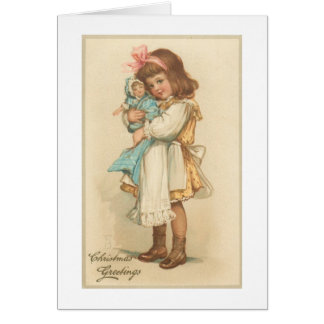 Vintage Christmas Greetings Girl with Doll Card