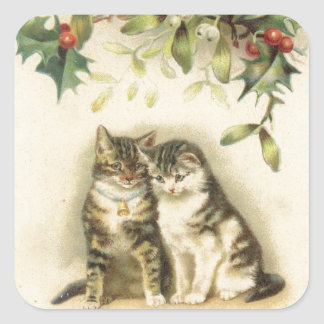 Vintage Christmas Greetings Kitty Cats Square Sticker
