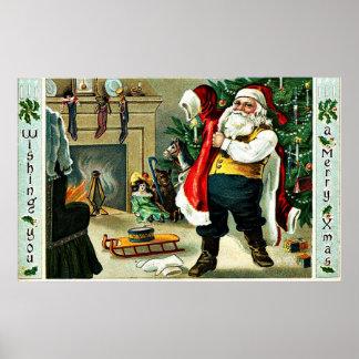 Vintage Christmas Greetings Poster