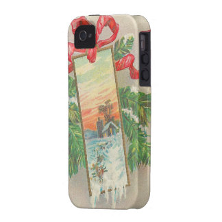 Vintage Christmas Greetings - Red Ribbons iPhone 4/4S Cover