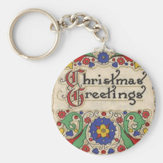 Vintage Christmas Greetings with Decorative Border Basic Round Button Key Ring
